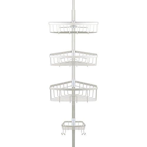 (Richards Homewares Bathtub Shower Tension Corner Pole Caddy - Satin Nickel - Stylish Design with 3 Baskets with soap Dish - 10.5 x 9.5 x 108)