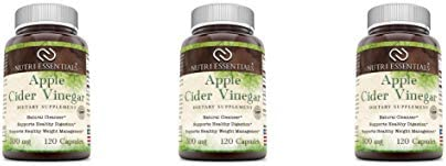 Nutri Essentials Apple Cider Vinegar Capsules – Weight Loss, Detox Pills – Natural Cleanser, Fat Burner Dietary Supplement, 120 Count, 500 Mg 3 Pack