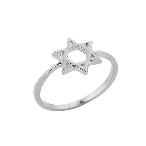 Petits Merveilles D'amour - Bague Femme 10 ct Or Blanc 471/1000 Étoile de David juive Cercle