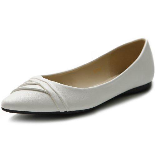 Ollio Kvinners Sko Ballett Kjole Faux Suede Eller Imitert Skinn Plissert Spiss Tå Flat White