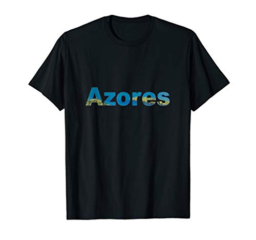 Azores T Shirt Portugal Island Text Tee (Best Places In Azores)