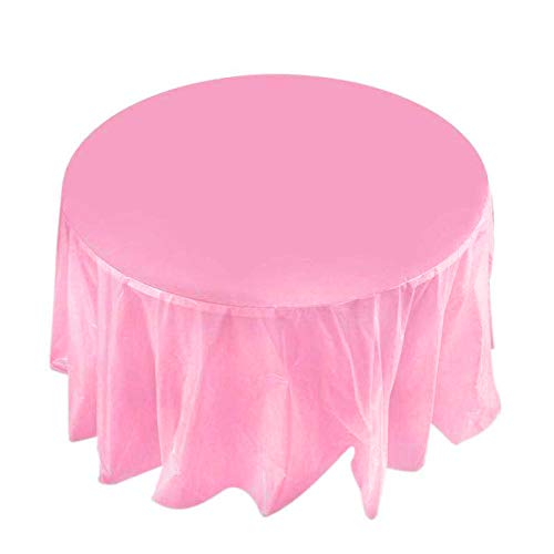 - Plastic Table Cover Heavy Duty Tablecloth Reusable/Disposable (3 Pack Round 84