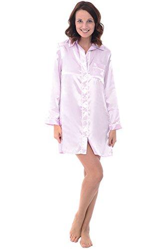 Alexander Del Rossa Womens Satin Nightgown, Long Boyfriend Style Button Front Sleep Shirt, Medium Iris (A0787IRSMD) ()