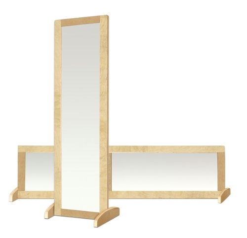 Acrylic Vertical Mirror - ECR4Kids Double-Sided Shatter Resistant Bi-Directional Birch Frame Mirror