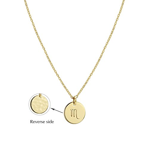 Befettly Constellation Necklace Pendant 14K Gold-Plated Hammered Round Disc Engraved Zodiac Sign Pendant 17.5'' Adjustable Dainty Necklace NK-Scorpio