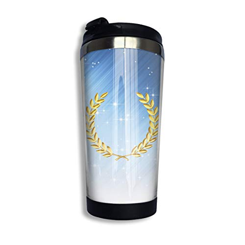 Coffee Travel Mug Laurel Wreath Bottle Car Tumbler Cup Iced Tea Or Water Insulated Thermal Cup Stainless Steel for Hiking, Camping & Working