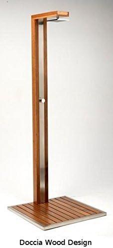 Ducha de exterior con plato de madera y acero inoxidable, modelo Wooddesign, conexiones de agua caliente y fría, excelente calidad: Amazon.es: Jardín