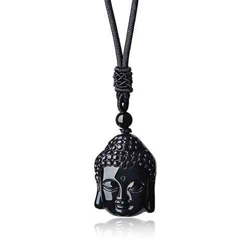 AmorWing Black Obsidian Buddha Head Prayer Amulet Pendant Necklace