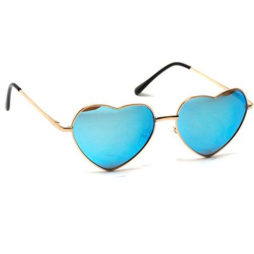 WearMe Color de reflectantes cupido nbsp;de forma de Gafas montura Pro Azul metal de mujer corazón con en AAZrSPqw