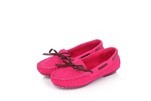Toe AmoonyFashion Closed Heels Womens Doug Shoes Toe Low Round Pumps and Solid Rosered With Shoes xIqnxYw