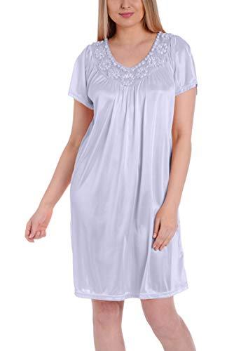 Ezi Women's Satin Silk Short Sleeve Sequins Nightgown,Lavender,XL