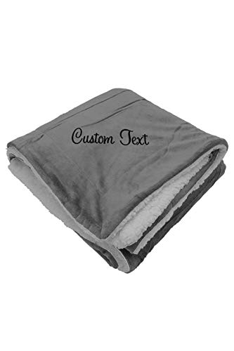 Zynotti Personalized Embroidered Gray Sherpa Fleece Throw Blanket Size 50x60 - Soft Cozy Blanket for Bed or Couch