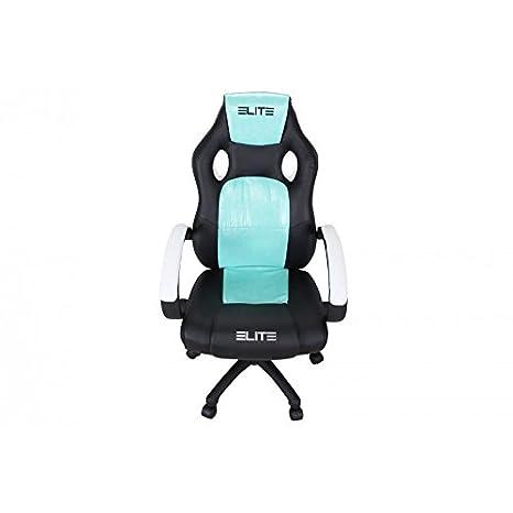 Oficina de y Gaming silla Elite MG - 100 piel sintética verschidene Colores, color Schwarz-Weiss-Türkis: Amazon.es: Oficina y papelería