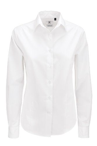 B & C Kollektion Smart-Langarmshirt Damen Weiß S