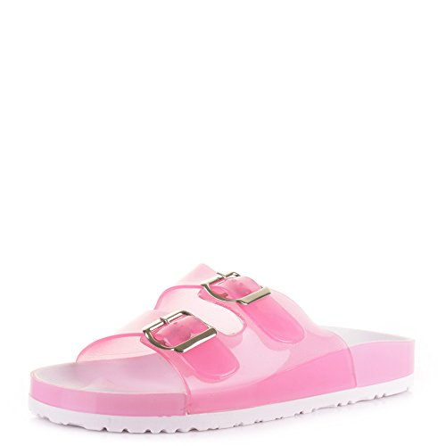 Womens Fashion Jelly Two Bar Buckle Flat Summer Sandals Shoes Pink