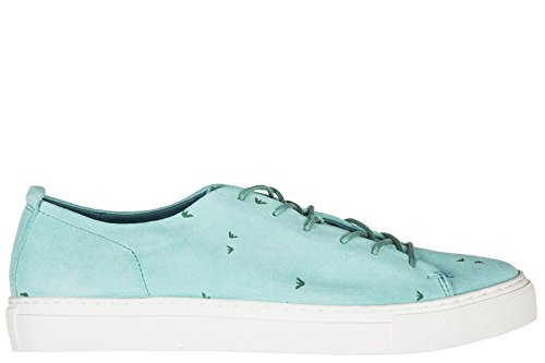 Emporio Armani Armani Jeans Chaussures Baskets Sneakers Homme en Daim Blu