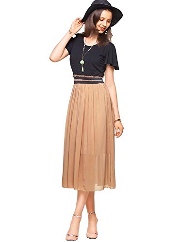 Amoretu Womens Short Sleeves Casual Classic Midi Dress for Summer Large
