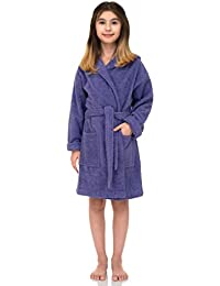 TowelSelections Big Girls' Beach Cover-up, Kids Hooded Cotton Terry Pool Cover-up Size 14 Aster Purple
