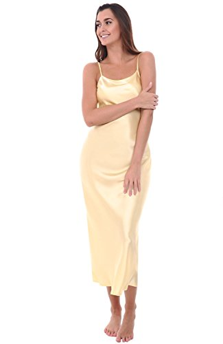 Alexander Del Rossa Womens Satin Nightgown, Full Length Camisole Chemise, Small Canary (A0778CANSM)