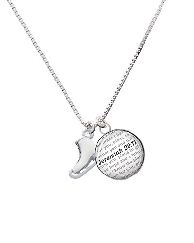 Silvertone 3-D White Ice Skate - Bible Verse Jeremiah 29:11 Glass Dome Necklace, 18
