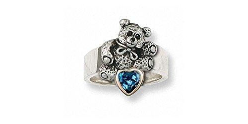 Ring 14k Bear Teddy (Teddy Bear Ring Jewelry Silver And 14k Gold Handmade Teddy Bear Ring TB18-SR)