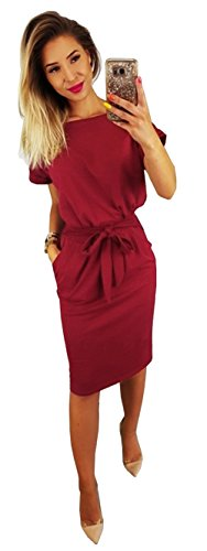 Longwu Women's Elegant Short Sleeve Wear to Work Casual Pencil Dress Belt Wine Red-L