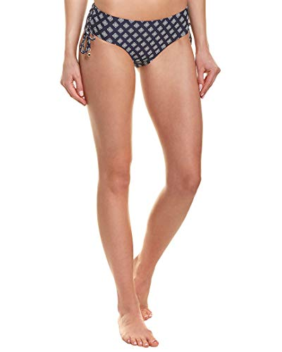 Anne Cole Women's Alex Solid Side Tie Adjustable Bikini Swim Bottom, Eyelet it go Navy Tile, Large