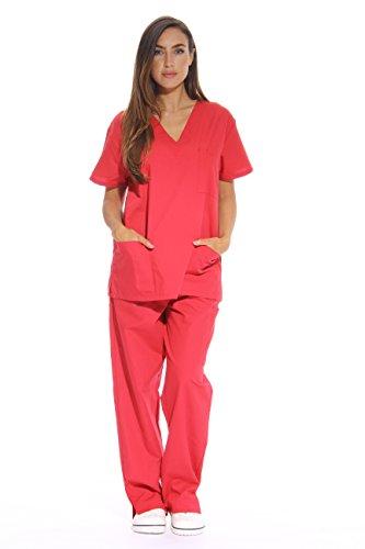 (Just Love Women's Scrub Sets Six Pocket Medical Scrubs (V-Neck With Cargo Pant), Red, Medium)