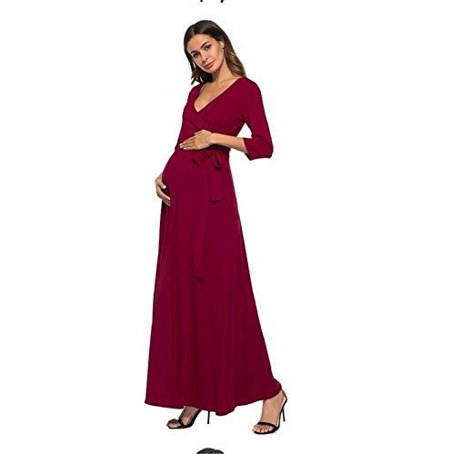 Leche Mangas V Recortadas Seda Europa z Vestido Mujeres Sencillo Vestido Red Embarazadas América Escote Y Sexy De Maternidad Banquete Elegence En Cinturón w64vBqfx