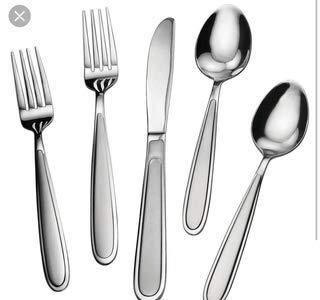 Splendide 40 Piece Stainless Steel Flatware Set | Beautiful Nassau Sand Pattern, Dishwasher Safe, Service For 8 (Salad Forks, Dinner Forks, Soup Spoons, Teaspoons, Dinner Knives) (Nassau Salad)