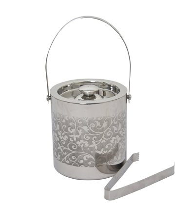 Flower Finish (Stainless Steel Double Walled Ice Bucket Etching Flower finish)