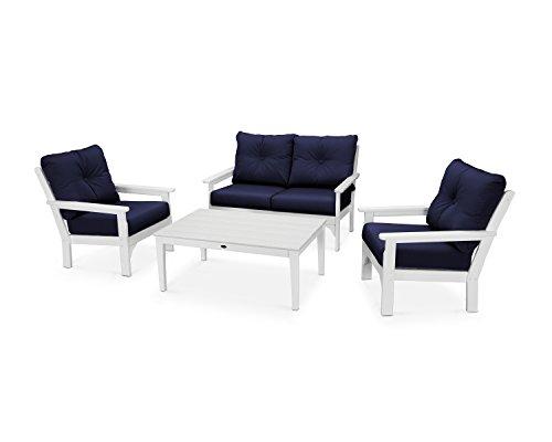 - POLYWOOD Vineyard 4-Piece Deep Seating Set (White/Navy)
