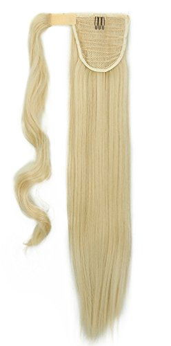 "S-noilite 26""(66cm) Straight Bleach Blonde Wrap Ponytail Clip in Hair Extensions Pony Tail Long Poplar Style"