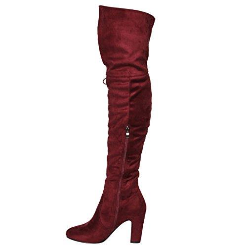 Beston Fm36 Womens Side Zip Tacco Largo Avvolto Tallone Alto Nappa Boot Vino
