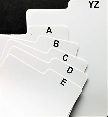 1 Pack of 25 A-Z Printed Box Divider Cards for Comic Book Collections White Plastic with Indexed Tab (+ 1 Free dj Magnet)