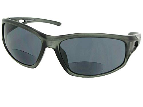 (B53 Sport Style Bifocal Sunglasses With Sunglass Rage Pouch (Clear Gray Frame-Gray Lenses, 1.50))