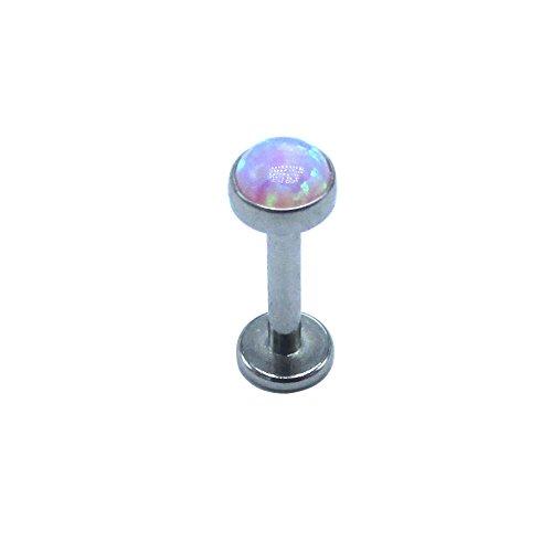 Ball Earrings Titanium 6mm (NewkeepsR 16G 1/4''(6mm) G23 Titanium Internal Threaded Purple Synthetic Opal Ball Top Labret Lip Monroe Tragus Helix Earring Stud)