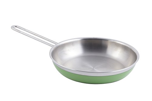 "Bon Chef 60308 Stainless Steel/Aluminum Classic Country French Collection Saute Pan/Skillet with 1 Long Handle, 2-3/8 quart Capacity, 11"" Diameter x 2-1/8"" Height, Lime"