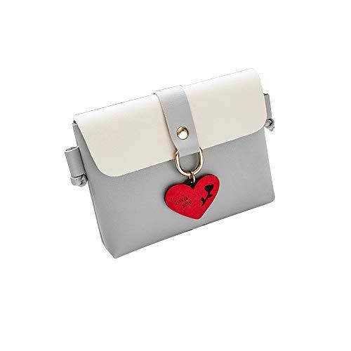 Crossbody Shoulder Bag,AfterSo Women Fashion Pure Color Leather Messenger Shoulder Bag Chest Bag (Gray)