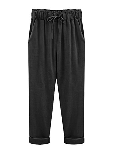 Yeokou Women's Casual Loose Baggy Linen Drawstring Summer Thin Cropped Harem Pants Black ()
