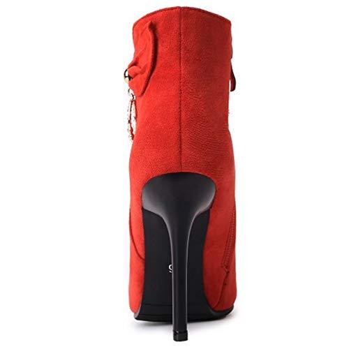 Rouge Taoffen Hauts Boots Boucle Femmes Cheville Bottines Pointu Talons 2 warm fAp8fw