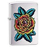 Zippo Flower Tattoo Pocket Lighter, Brushed Chrome (Chrome Design Brushed)