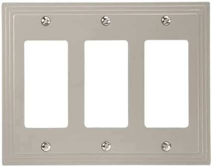 Amerelle Steps Triple Rocker Cast Metal Wallplate In Satin Nickel Switch And Outlet Plates Amazon Com