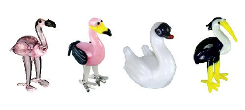 (Looking Glass Miniature Collectible - Flamingo / Swan / Heron (4-Pack))
