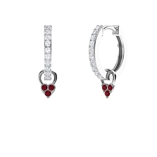 Diamondere Natural and Certified Diamond Huggie Earrings with a Dangling Ruby Heart in 14K White Gold | 0.40 Carat Petite Earrings for Women