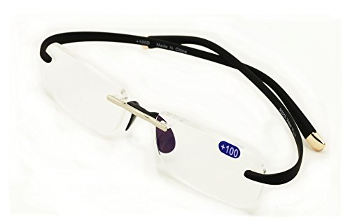 V.W.E Rectangular Rimless Memory Flex Temple Reading Glasses With Anti-reflective AR Coating (Black, 1.50)