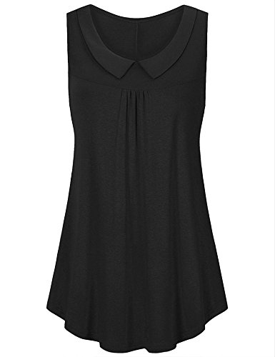 Uniboutique Women Sleeveless Shirts Peter Pan Collar Casual Pleated Flowy Tunic Tank Tops Black XXL