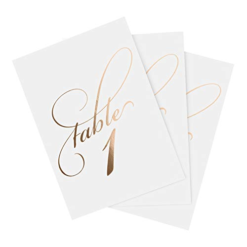 Bliss Paper Boutique Rose Gold Wedding Table Numbers (Assorted Color Options Available), Double Sided 4x6 Calligraphy Design, Numbers 1-40 & Head Table Card Included - from