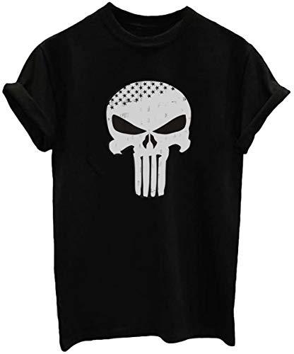 ZHIQUYI Womens Distressed Punisher Skull Stars Graphic Casual Cotton Short Sleeve Crew Neck Black T-Shirt (L)