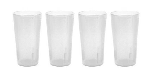 - 32 oz. (Ounce) Restaurant Tumbler Beverage Cup, Stackable Cups, Break-Resistant Commmerical Plastic, Set of 4 - Clear